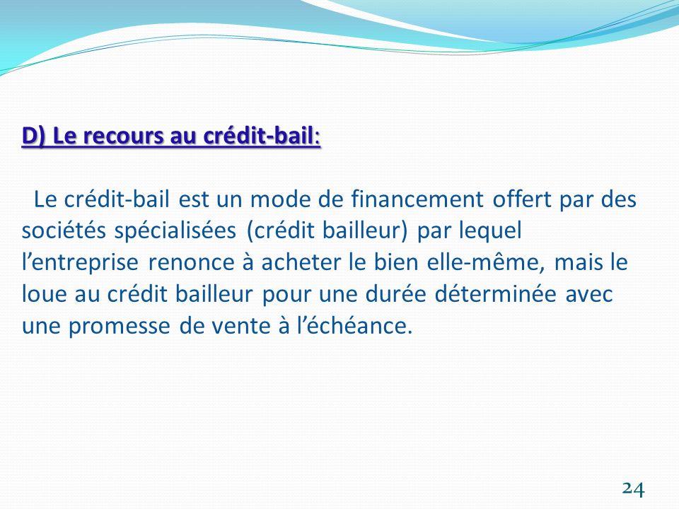 D) Le recours au crédit-bail: D) Le recours au crédit-bail: Le crédit-bail est un mode de financement offert par des sociétés spécialisées (crédit bai