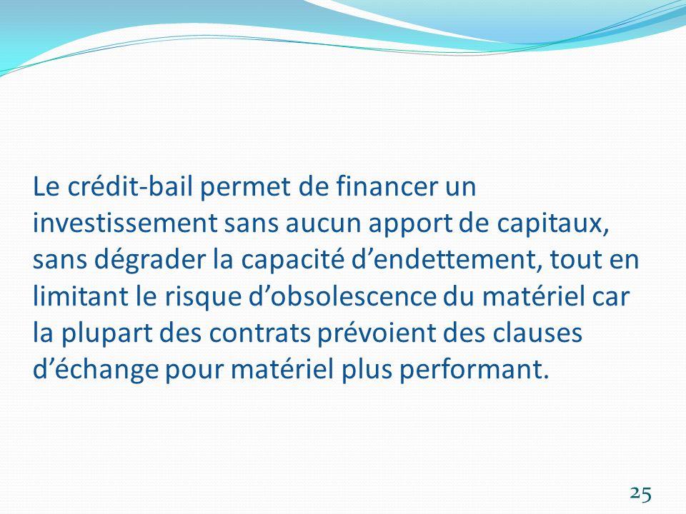 Le crédit-bail permet de financer un investissement sans aucun apport de capitaux, sans dégrader la capacité dendettement, tout en limitant le risque