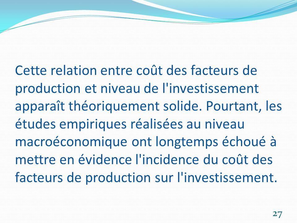 Cette relation entre coût des facteurs de production et niveau de l'investissement apparaît théoriquement solide. Pourtant, les études empiriques réal