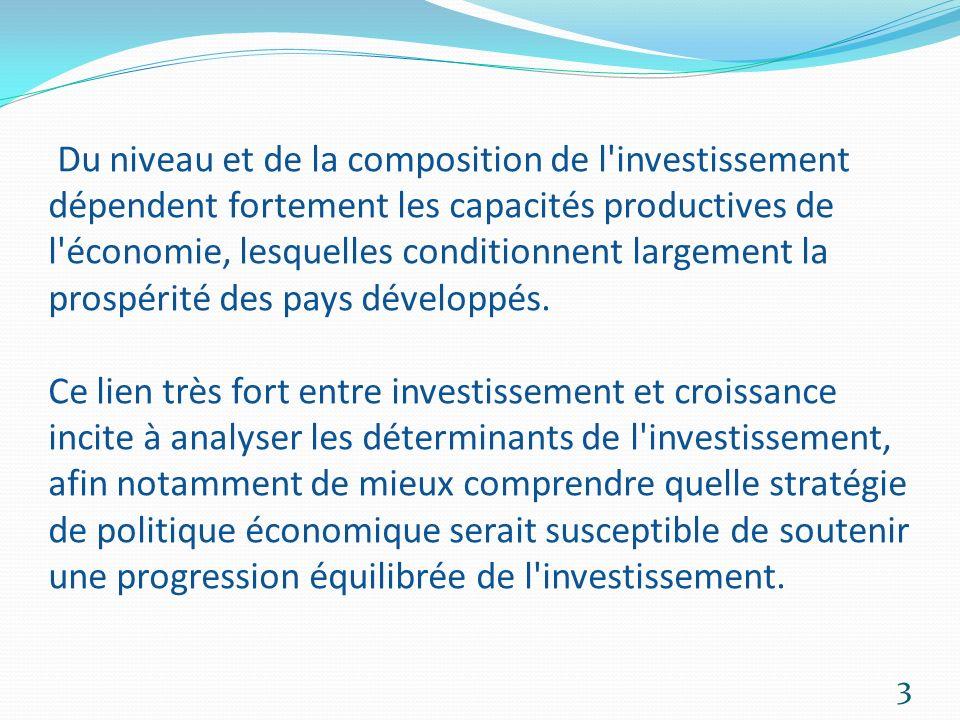 Linvestissement est un engagement durable de fonds destiné à acquérir des immobilisations, cest-à-dire des actifs matériels et immatériels nécessaires à lactivité productive pour maintenir ou accroître la capacité de production.