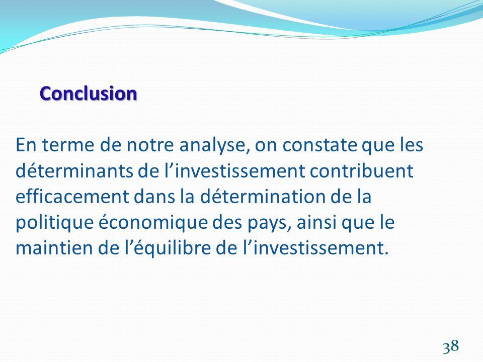 Conclusion Conclusion En terme de notre analyse, on constate que les déterminants de linvestissement contribuent efficacement dans la détermination de