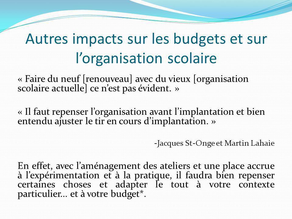 Autres impacts sur les budgets et sur lorganisation scolaire « Faire du neuf [renouveau] avec du vieux [organisation scolaire actuelle] ce nest pas évident.