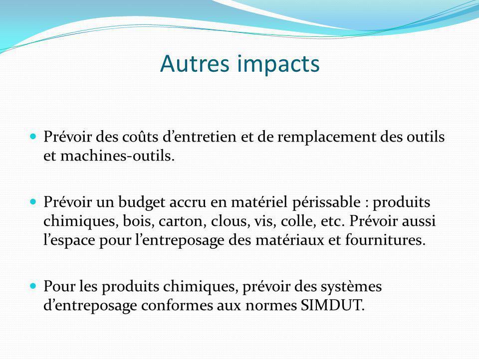 Autres impacts Prévoir des coûts dentretien et de remplacement des outils et machines-outils.