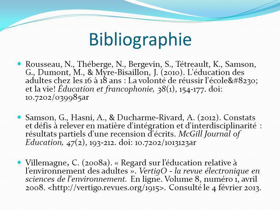 Bibliographie Rousseau, N., Théberge, N., Bergevin, S., Tétreault, K., Samson, G., Dumont, M., & Myre-Bisaillon, J.