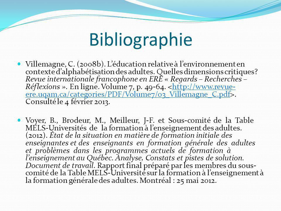 Bibliographie Villemagne, C.(2008b).
