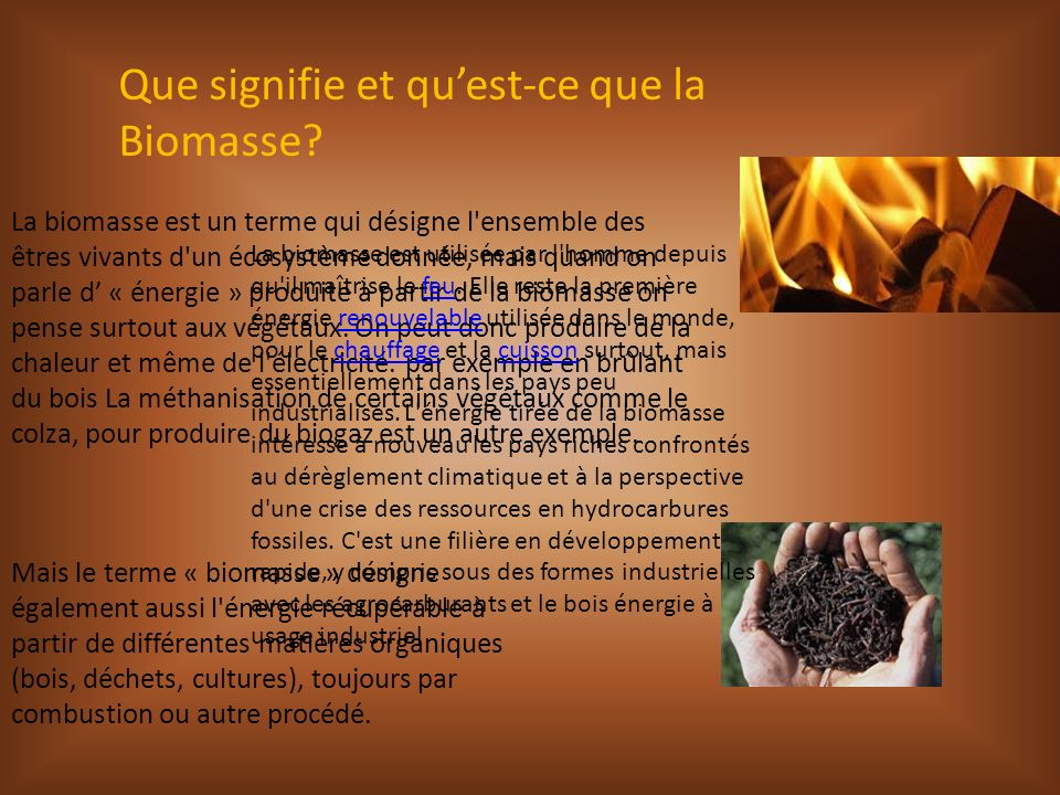 Que signifie et quest-ce que la Biomasse? La biomasse est un terme qui désigne l'ensemble des êtres vivants d'un écosystème donnée, mais quand on parl