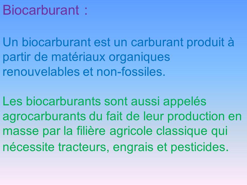 Biocarburant : Un biocarburant est un carburant produit à partir de matériaux organiques renouvelables et non-fossiles. Les biocarburants sont aussi a