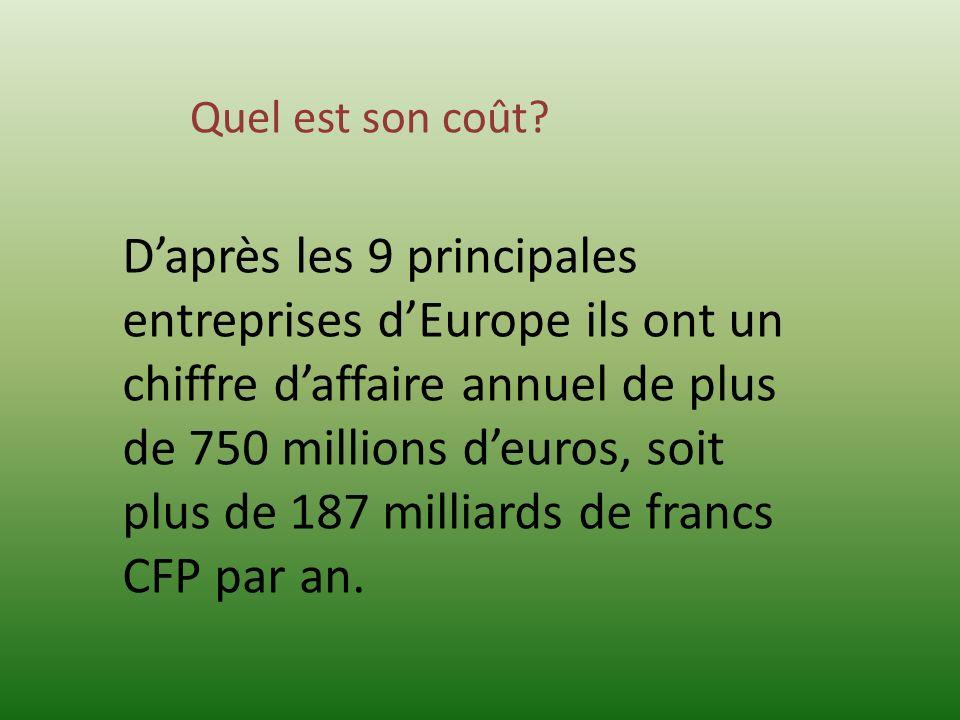 Daprès les 9 principales entreprises dEurope ils ont un chiffre daffaire annuel de plus de 750 millions deuros, soit plus de 187 milliards de francs C