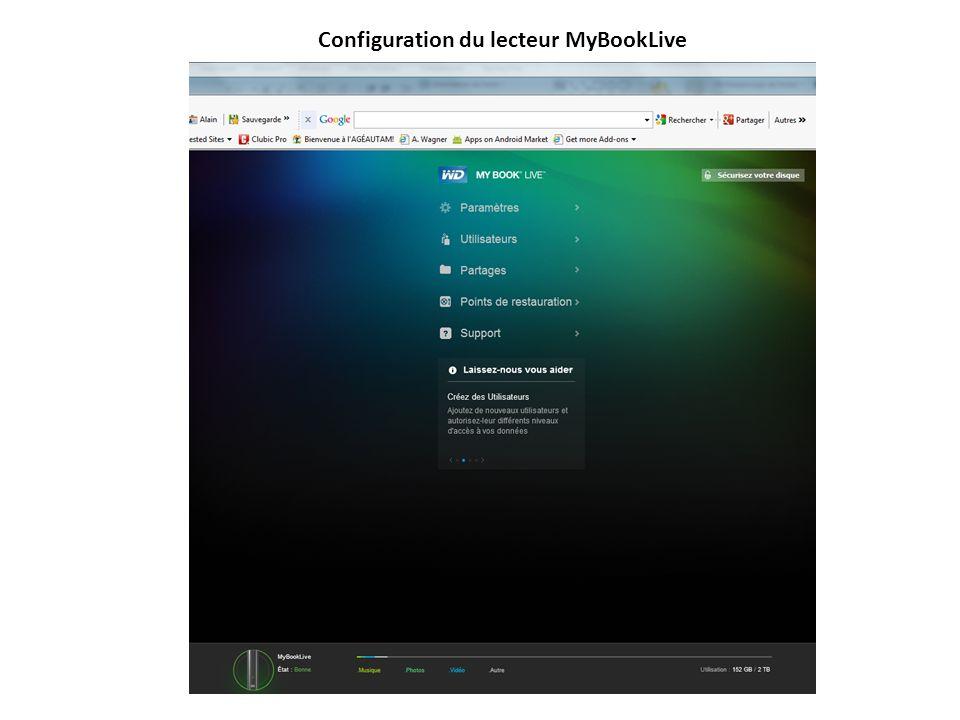 Configuration du lecteur MyBookLive