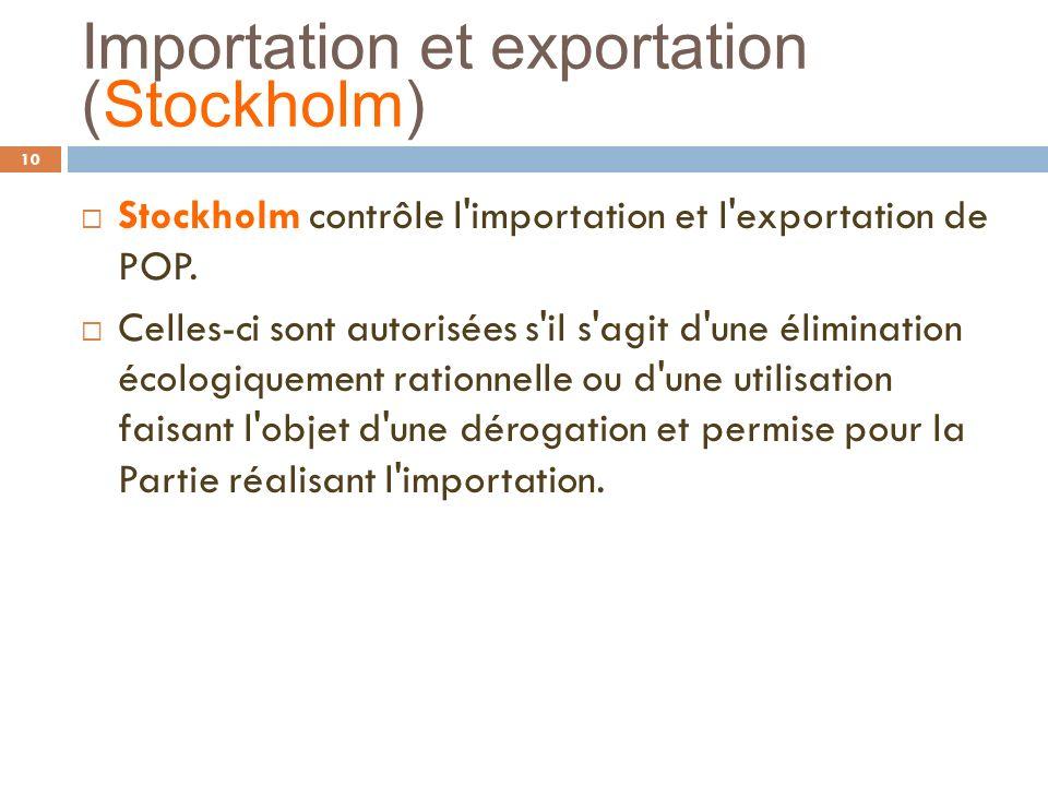 Importation et exportation (Stockholm) 10 Stockholm contrôle l'importation et l'exportation de POP. Celles-ci sont autorisées s'il s'agit d'une élimin