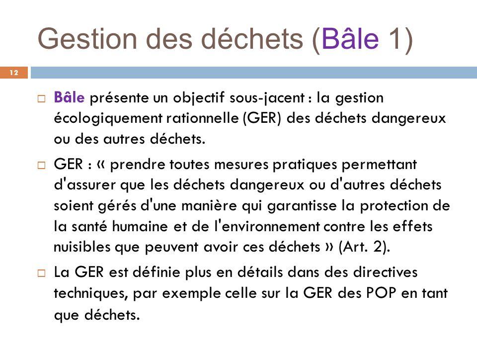 Gestion des déchets (Bâle 1) 12 Bâle présente un objectif sous-jacent : la gestion écologiquement rationnelle (GER) des déchets dangereux ou des autre