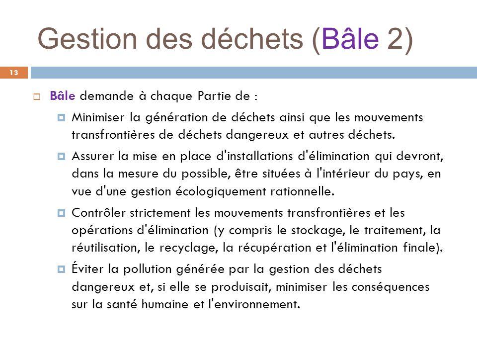 Gestion des déchets (Bâle 2) 13 Bâle demande à chaque Partie de : Minimiser la génération de déchets ainsi que les mouvements transfrontières de déche