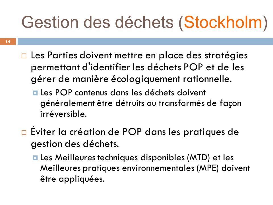Gestion des déchets (Stockholm) 14 Les Parties doivent mettre en place des stratégies permettant d'identifier les déchets POP et de les gérer de maniè