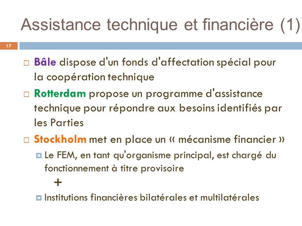 Assistance technique et financière (1) 17 Bâle dispose d'un fonds d'affectation spécial pour la coopération technique Rotterdam propose un programme d