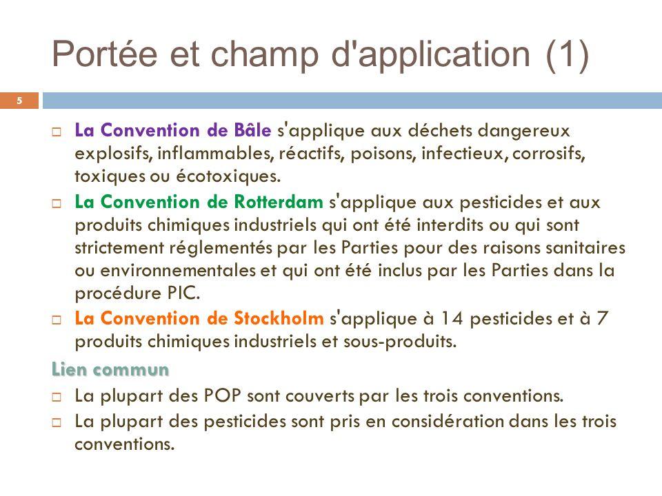 Portée et champ d'application (1) 5 La Convention de Bâle s'applique aux déchets dangereux explosifs, inflammables, réactifs, poisons, infectieux, cor