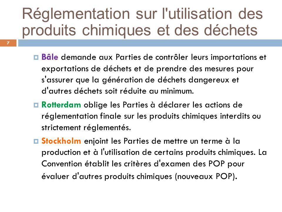 Réglementation sur l'utilisation des produits chimiques et des déchets 7 Bâle demande aux Parties de contrôler leurs importations et exportations de d
