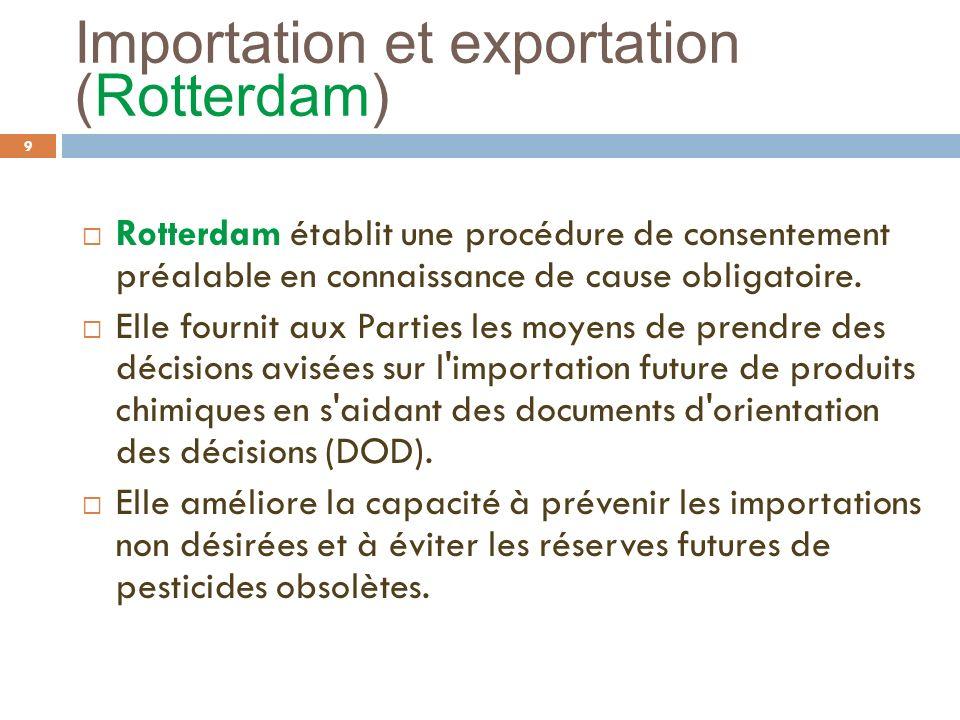 Importation et exportation (Rotterdam) 9 Rotterdam établit une procédure de consentement préalable en connaissance de cause obligatoire. Elle fournit