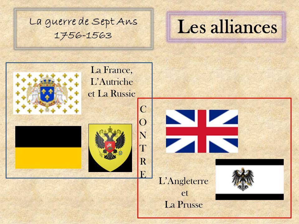 La guerre de Sept Ans 1756-1563 Les alliances La France, LAutriche et La Russie LAngleterre et La Prusse