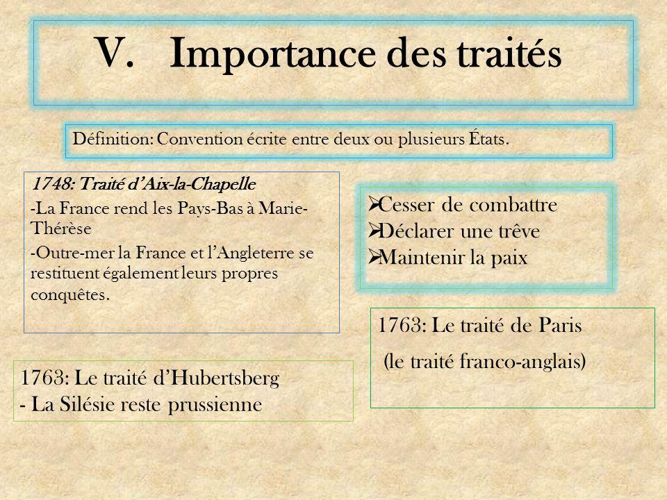 V.Importance des traités 1763: Le traité de Paris (le traité franco-anglais) 1748: Traité dAix-la-Chapelle -La France rend les Pays-Bas à Marie- Thérèse -Outre-mer la France et lAngleterre se restituent également leurs propres conquêtes.