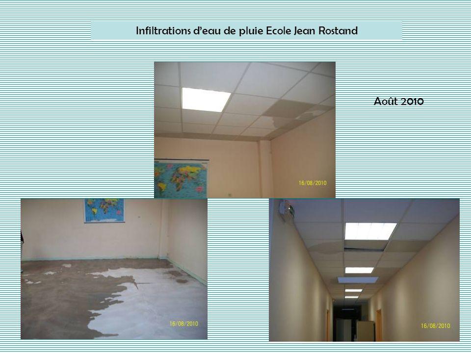 Infiltrations deau de pluie Ecole Jean Rostand Août 2010