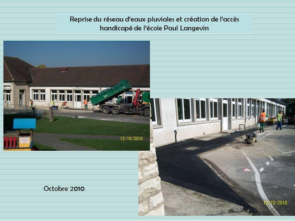 Reprise du réseau deaux pluviales et création de laccès handicapé de lécole Paul Langevin Octobre 2010