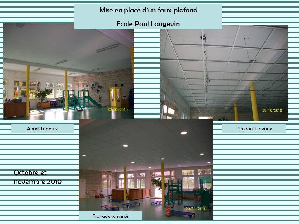 Avant travaux Mise en place dun faux plafond Ecole Paul Langevin Travaux terminés Pendant travaux Octobre et novembre 2010