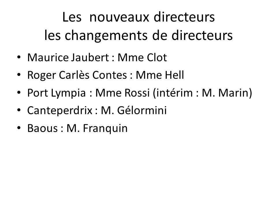Les nouveaux directeurs les changements de directeurs Maurice Jaubert : Mme Clot Roger Carlès Contes : Mme Hell Port Lympia : Mme Rossi (intérim : M.
