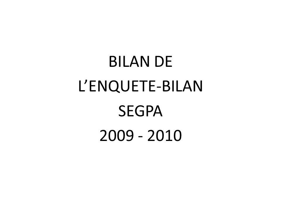 BILAN DE LENQUETE-BILAN SEGPA 2009 - 2010