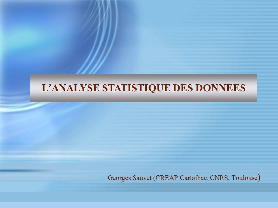 Georges Sauvet (CREAP Cartaihac, CNRS, Toulouse ) L ANALYSE STATISTIQUE DES DONNEES