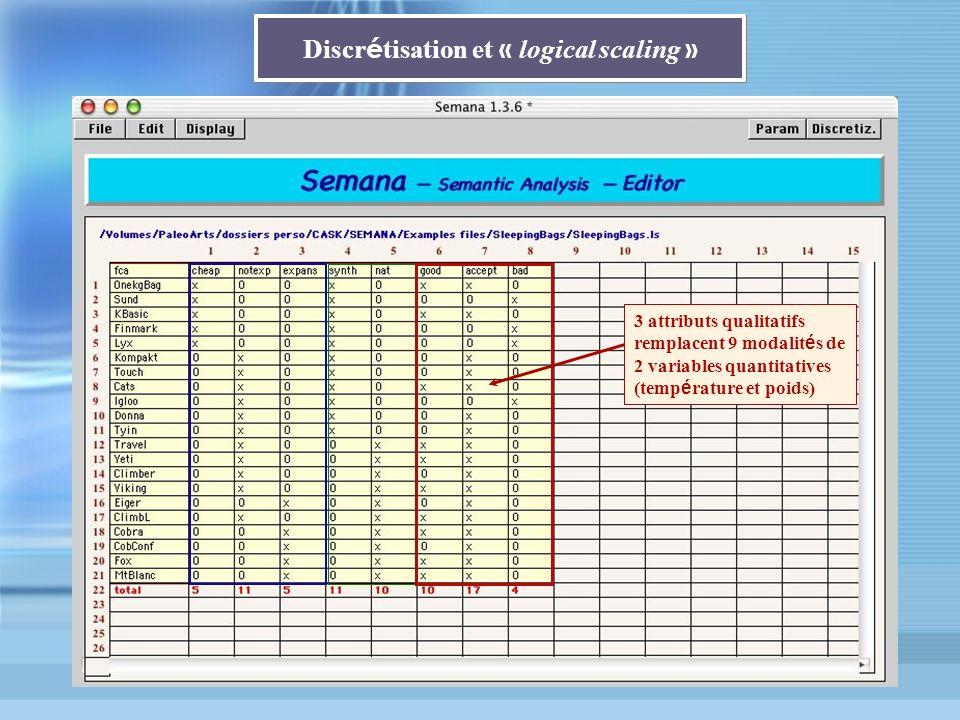 Discr é tisation et « logical scaling » 3 attributs qualitatifs remplacent 9 modalit é s de 2 variables quantitatives (temp é rature et poids)