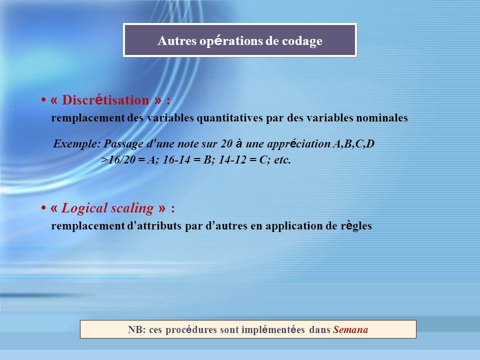 Autres op é rations de codage Exemple: Passage d une note sur 20 à une appr é ciation A,B,C,D >16/20 = A; 16-14 = B; 14-12 = C; etc. NB: ces proc é du