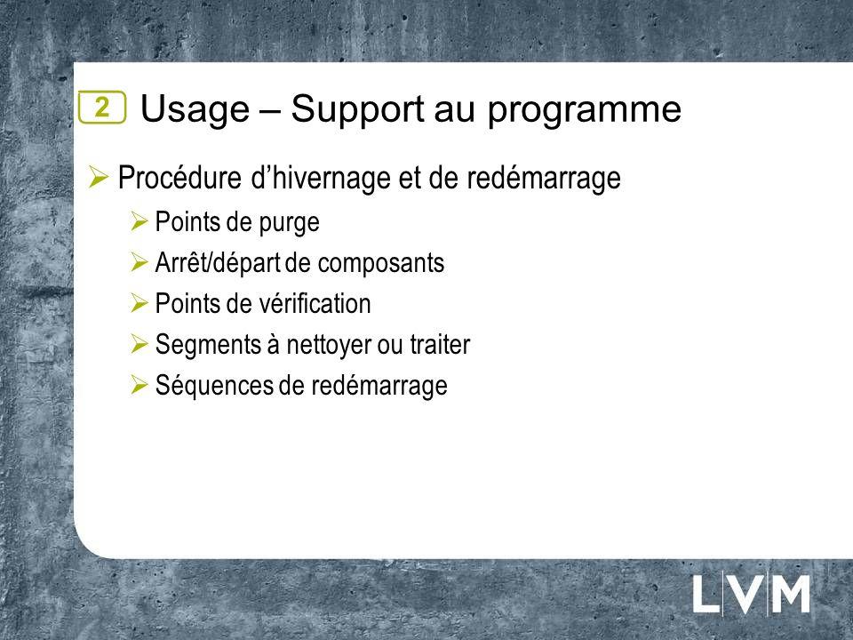Usage – Support au programme Procédure dhivernage et de redémarrage Points de purge Arrêt/départ de composants Points de vérification Segments à netto