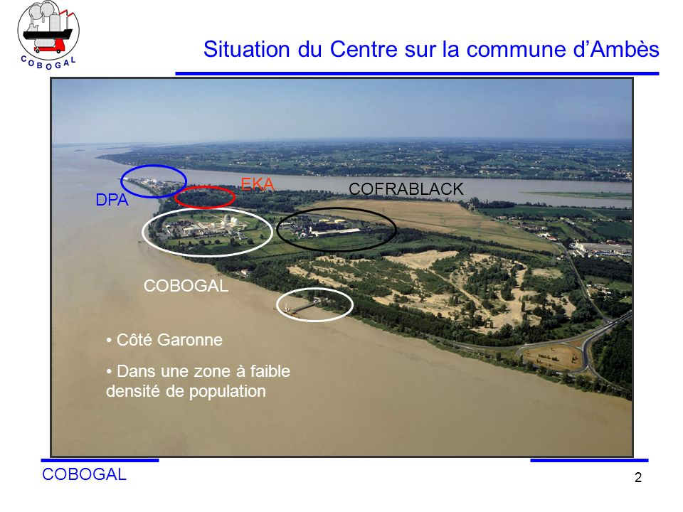 COBOGAL 2 Situation du Centre sur la commune dAmbès Sur plan: disposition des principales zones importantes de l environnement de l industrie COBOGAL