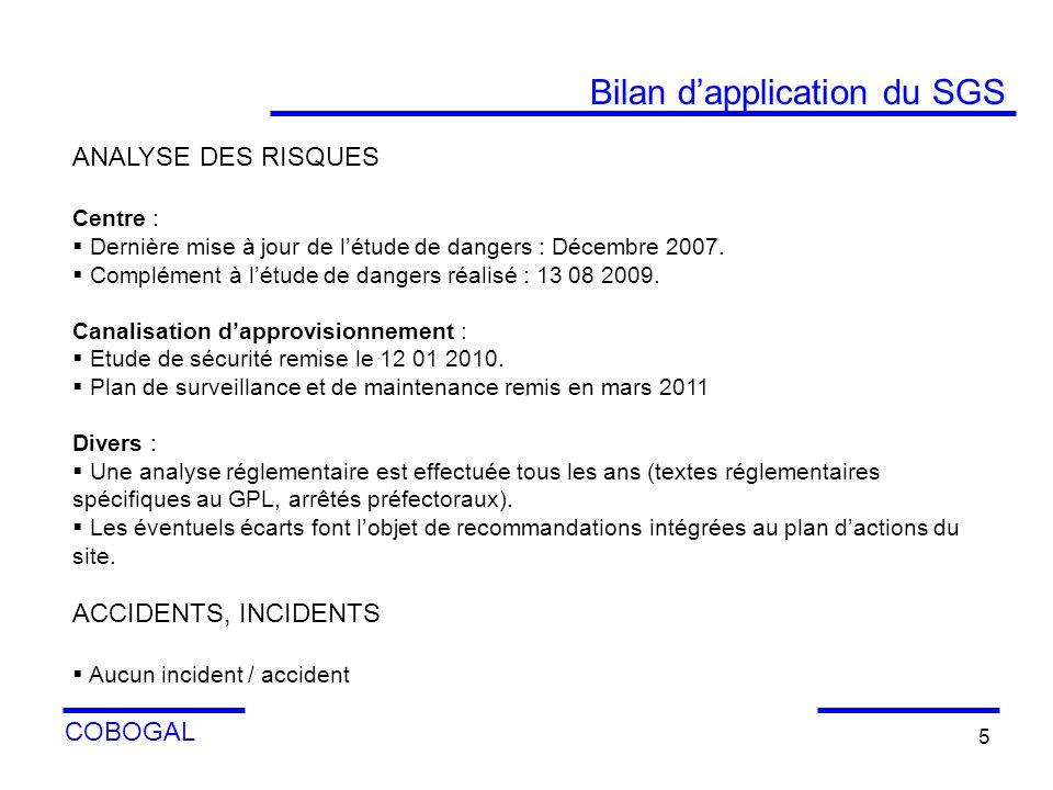 COBOGAL 5 ANALYSE DES RISQUES Centre : Dernière mise à jour de létude de dangers : Décembre 2007. Complément à létude de dangers réalisé : 13 08 2009.