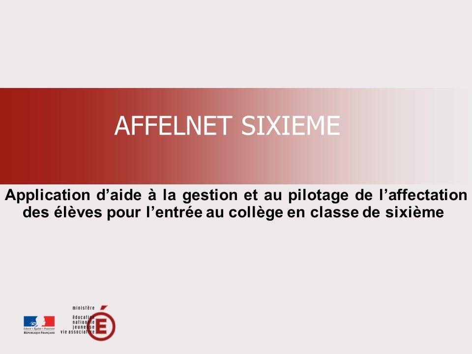 AFFELNET SIXIEME Application daide à la gestion et au pilotage de laffectation des élèves pour lentrée au collège en classe de sixième