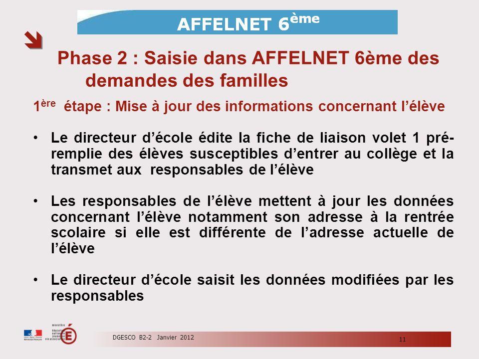 Phase 2 : Saisie dans AFFELNET 6ème des demandes des familles 1 ère étape : Mise à jour des informations concernant lélève Le directeur décole édite l