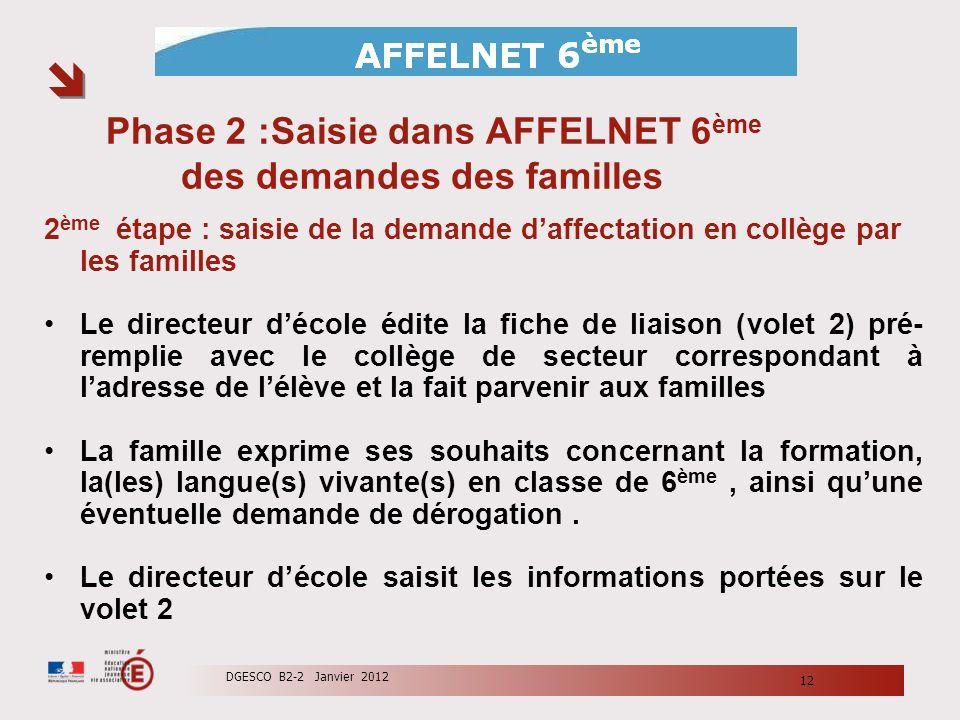Phase 2 :Saisie dans AFFELNET 6 ème des demandes des familles 2 ème étape : saisie de la demande daffectation en collège par les familles Le directeur