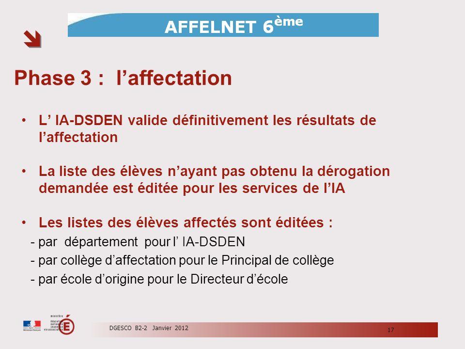 Phase 3 : laffectation L IA-DSDEN valide définitivement les résultats de laffectation La liste des élèves nayant pas obtenu la dérogation demandée est