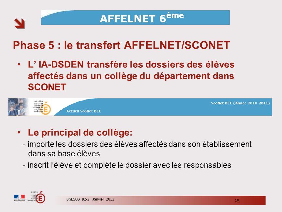 Phase 5 : le transfert AFFELNET/SCONET L IA-DSDEN transfère les dossiers des élèves affectés dans un collège du département dans SCONET Le principal d