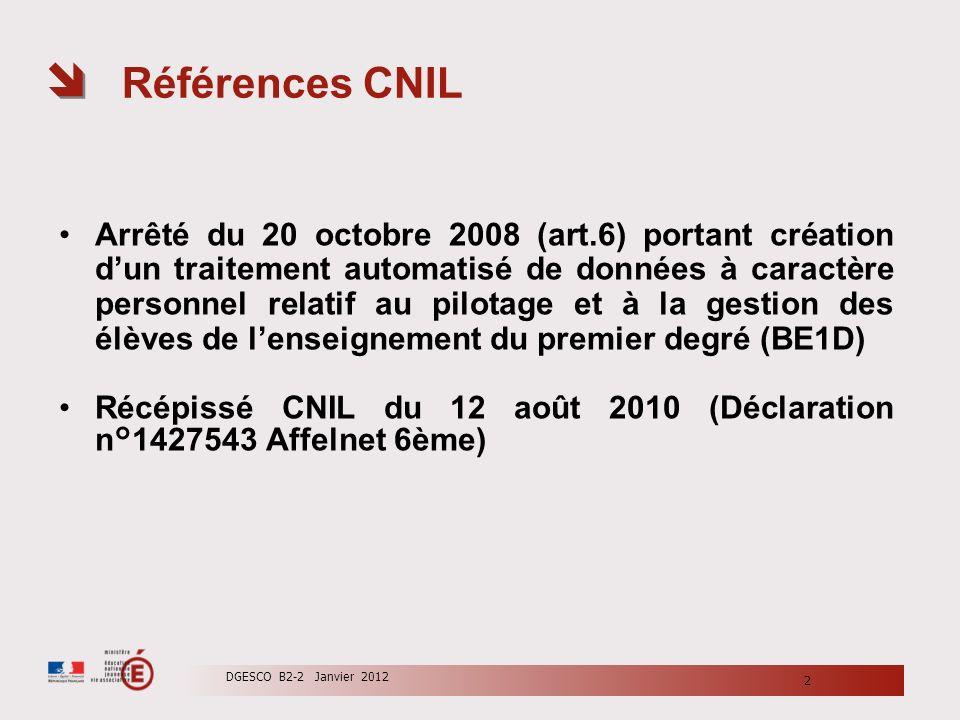 Références CNIL Arrêté du 20 octobre 2008 (art.6) portant création dun traitement automatisé de données à caractère personnel relatif au pilotage et à