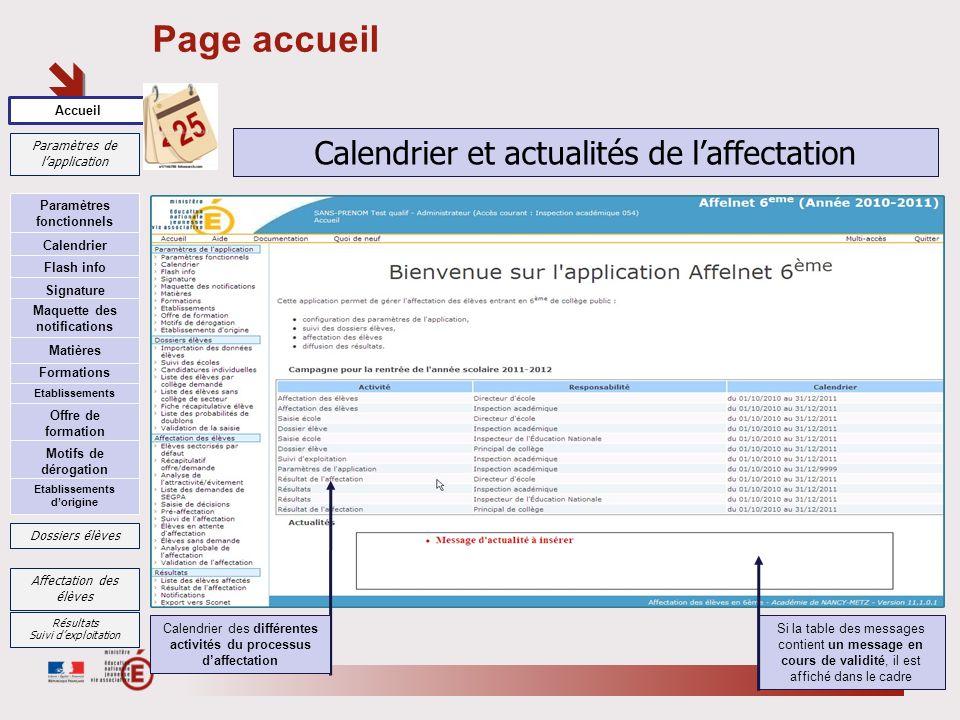 Page accueil 25 Accueil Paramètres de lapplication Si la table des messages contient un message en cours de validité, il est affiché dans le cadre Cal