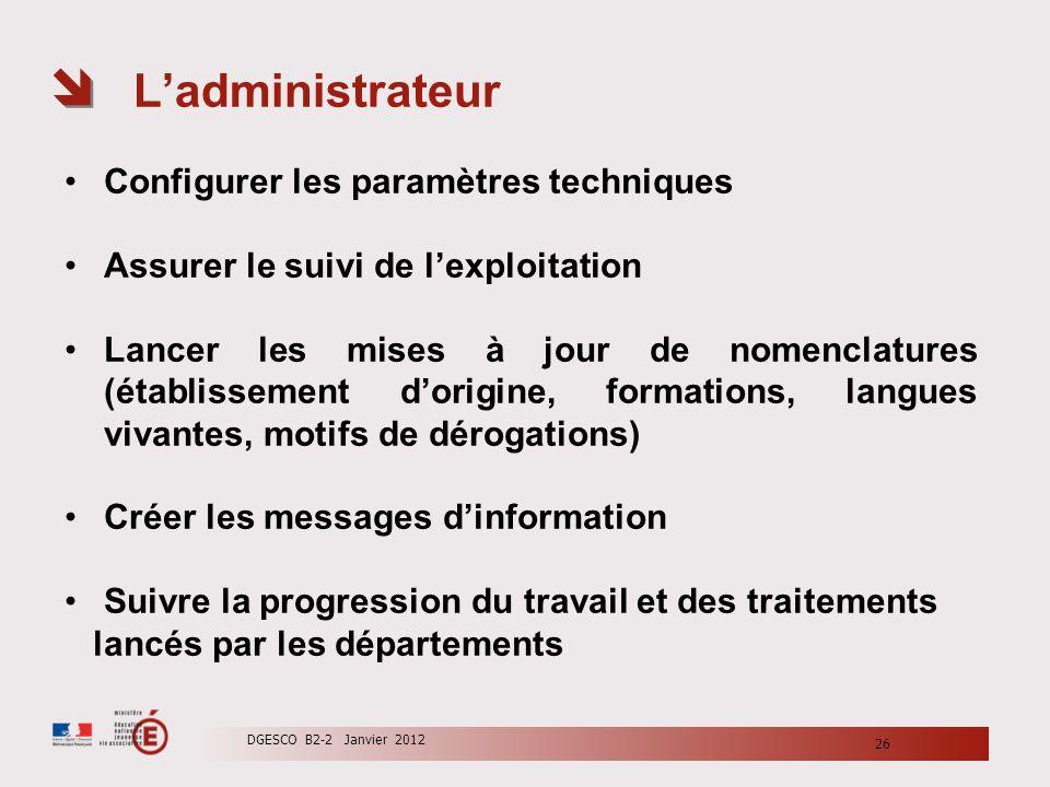 Ladministrateur Configurer les paramètres techniques Assurer le suivi de lexploitation Lancer les mises à jour de nomenclatures (établissement dorigin