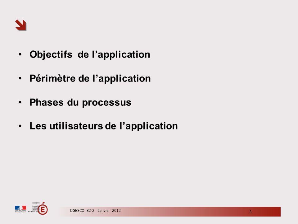 3 DGESCO B2-2 Janvier 2012 Objectifs de lapplication Périmètre de lapplication Phases du processus Les utilisateurs de lapplication