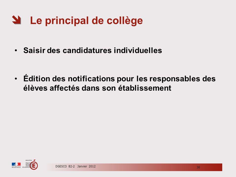 Le principal de collège Saisir des candidatures individuelles Édition des notifications pour les responsables des élèves affectés dans son établisseme