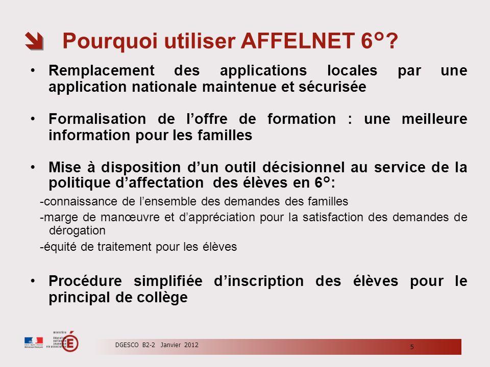 Pourquoi utiliser AFFELNET 6°? Remplacement des applications locales par une application nationale maintenue et sécurisée Formalisation de loffre de f