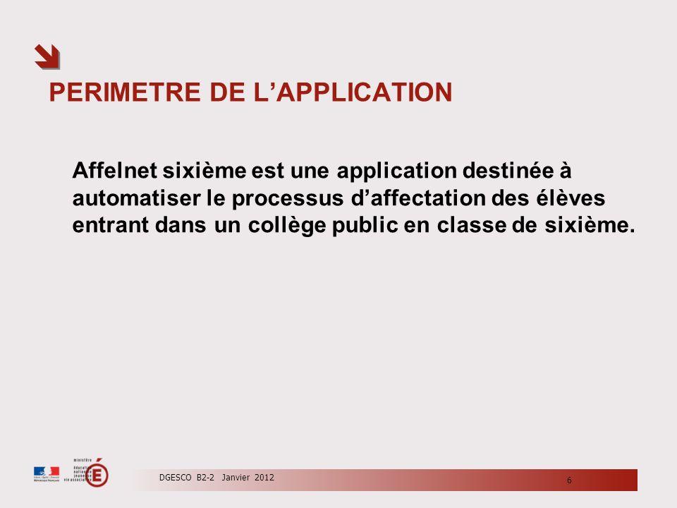 PERIMETRE DE LAPPLICATION Affelnet sixième est une application destinée à automatiser le processus daffectation des élèves entrant dans un collège pub