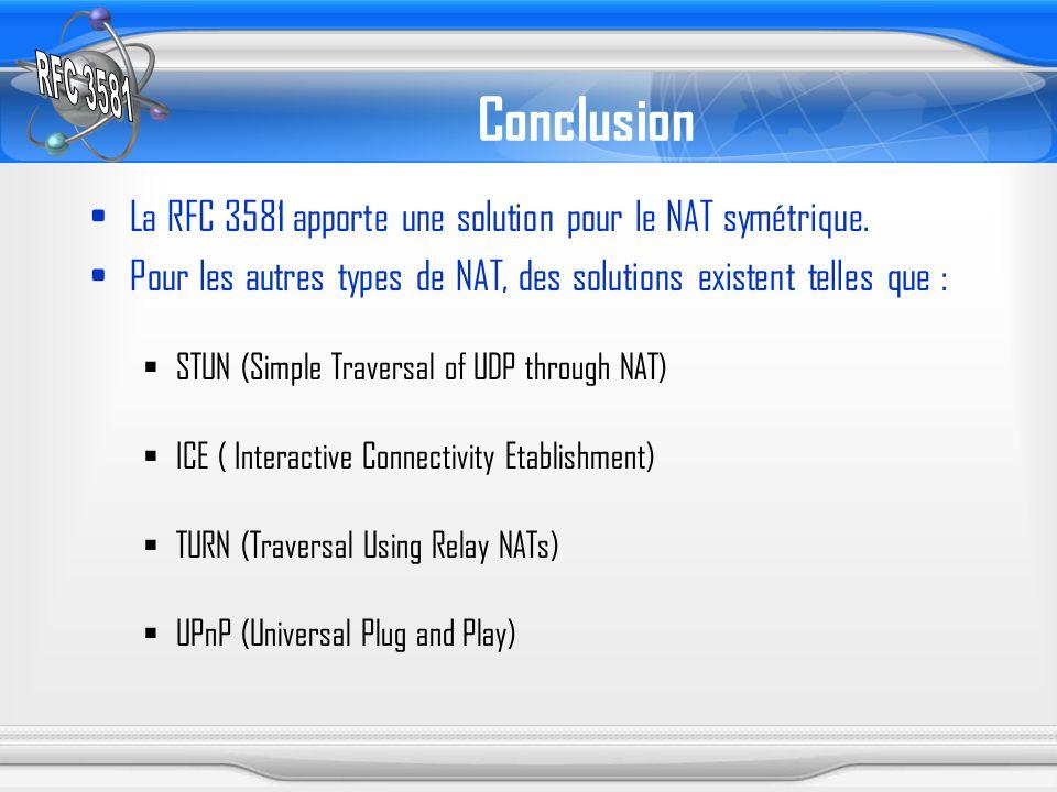 Conclusion La RFC 3581 apporte une solution pour le NAT symétrique. Pour les autres types de NAT, des solutions existent telles que : STUN (Simple Tra