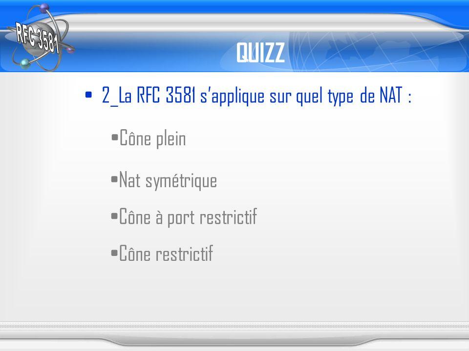 QUIZZ 2_La RFC 3581 sapplique sur quel type de NAT : Cône plein Nat symétrique Cône à port restrictif Cône restrictif