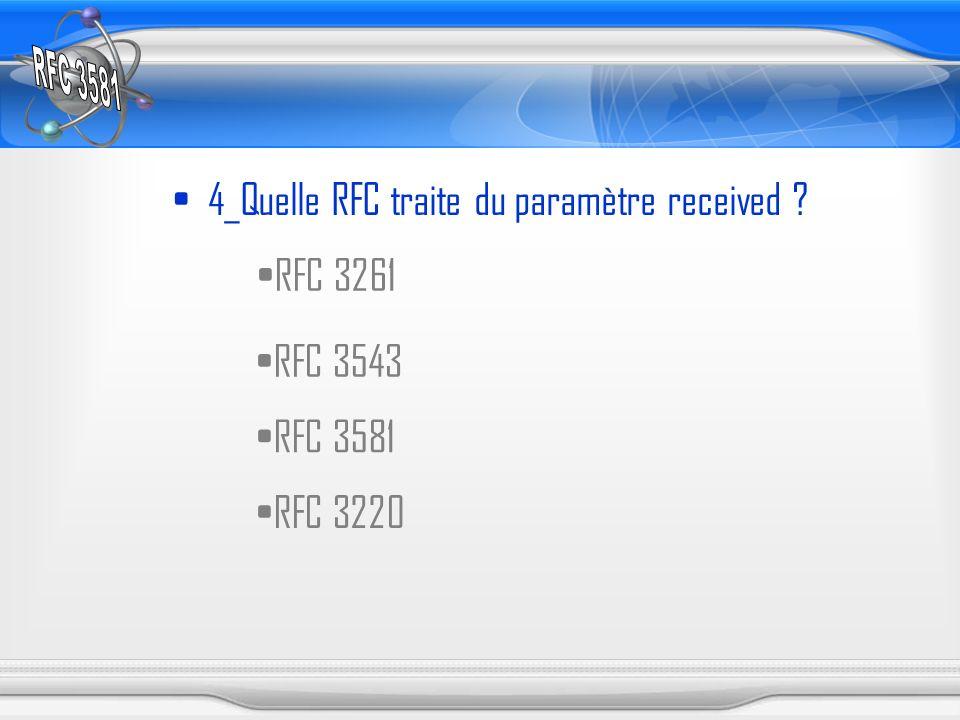 4_Quelle RFC traite du paramètre received ? RFC 3261 RFC 3543 RFC 3581 RFC 3220