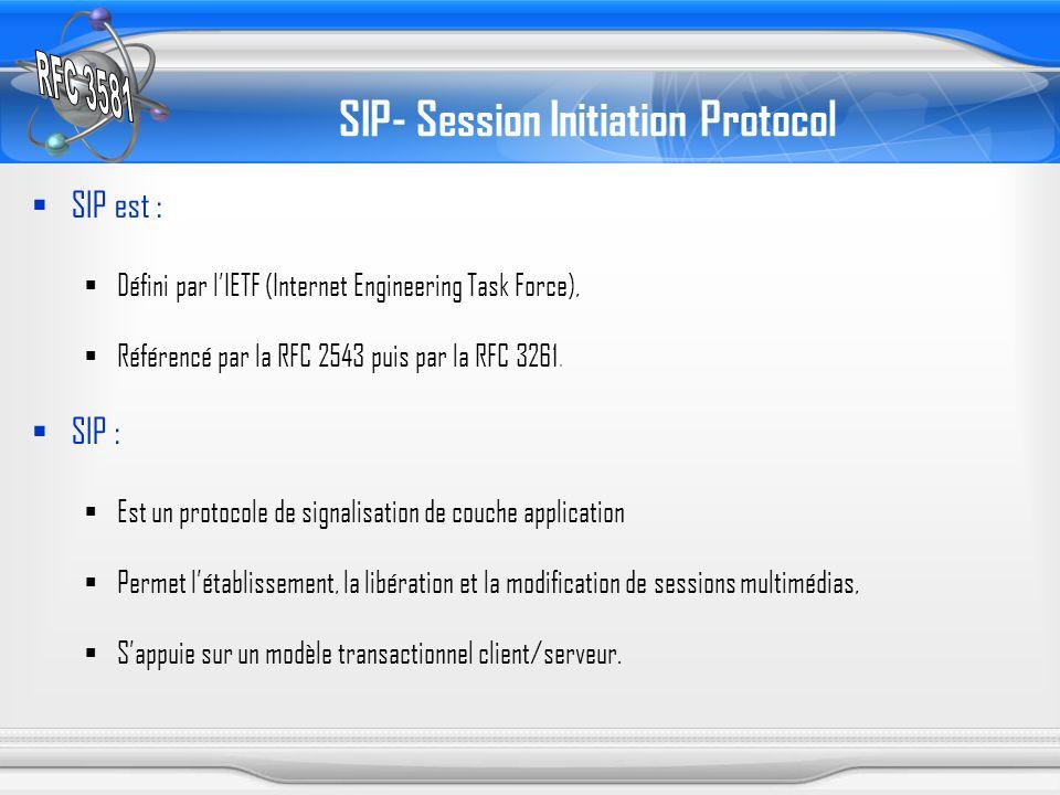 SIP- Session Initiation Protocol SIP est : Défini par lIETF (Internet Engineering Task Force), Référencé par la RFC 2543 puis par la RFC 3261. SIP : E